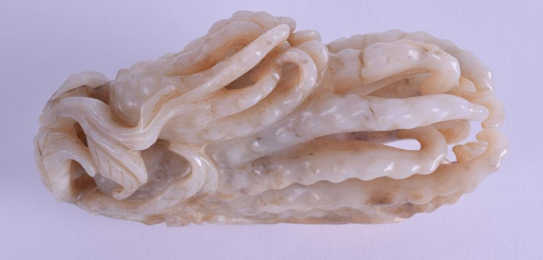 A GOOD CHINESE QING DYNASTY CARVED MUTTON JADE FINGER - 2