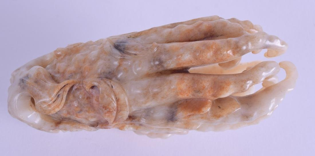 A GOOD CHINESE QING DYNASTY CARVED MUTTON JADE FINGER - 4