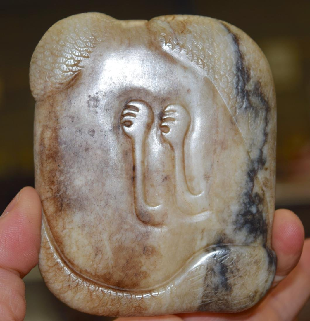 AN UNUSUAL CHINESE QING DYNASTY CARVED MUTTON JADE - 8