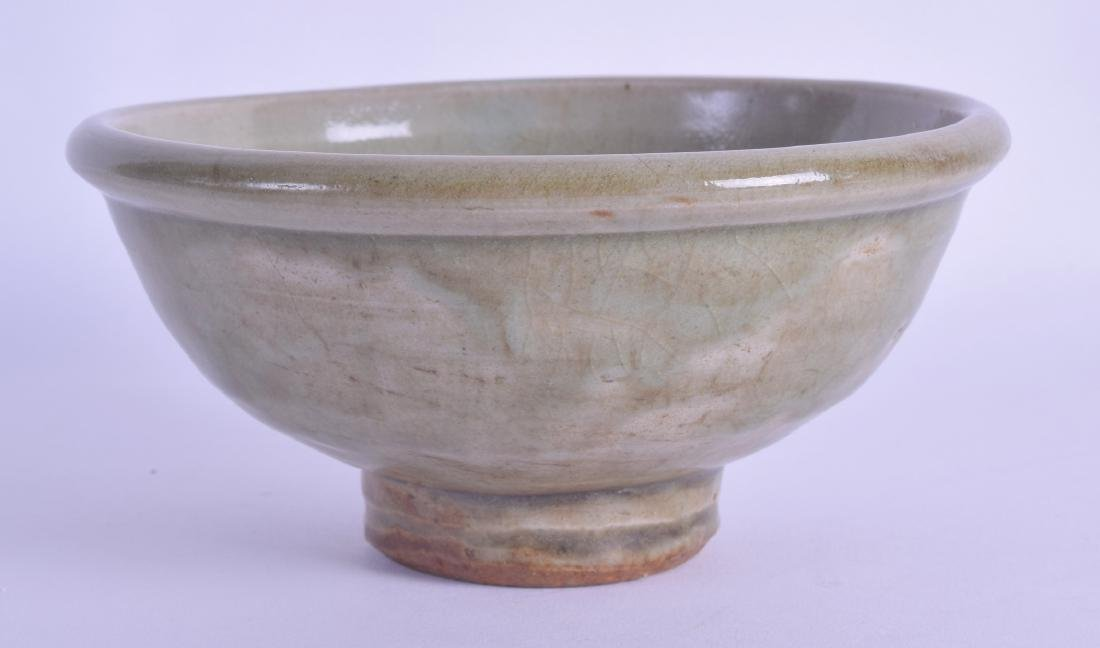AN UNUSUAL CHINESE CELADON POTTERY BOWL possibly Ming,