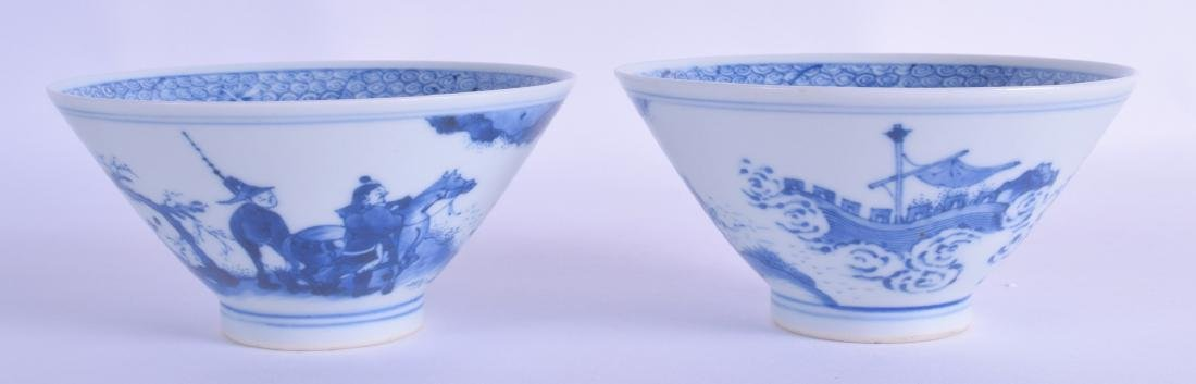 A RARE PAIR OF CHINESE BLUE AND WHITE CONICAL SHAPED