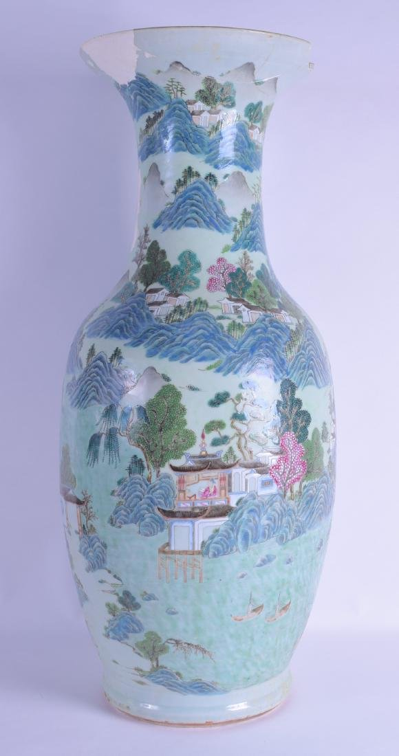 A VERY LARGE 19TH CENTURY CHINESE CANTON LANDSCAPE VASE