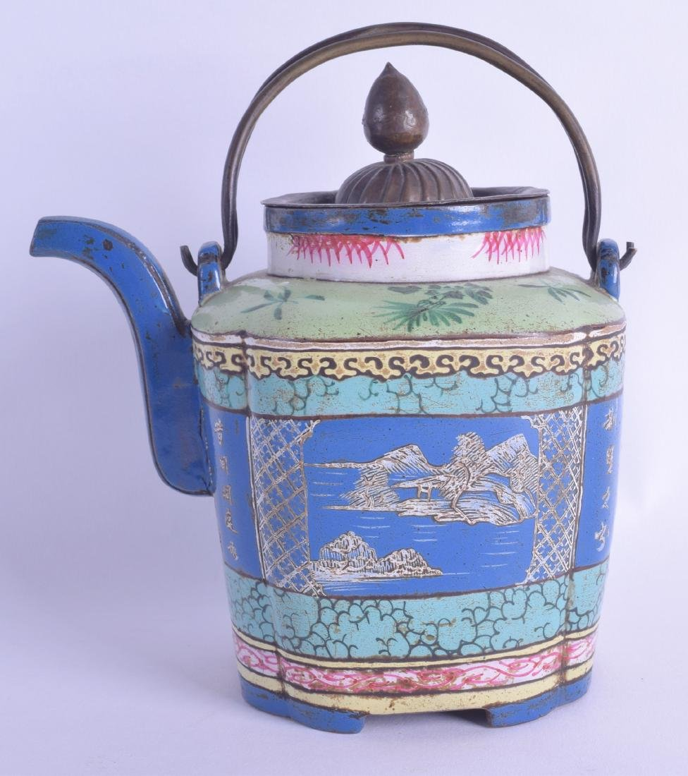 A RARE 19TH CENTURY CHINESE YIXING POTTERY ENAMELLED
