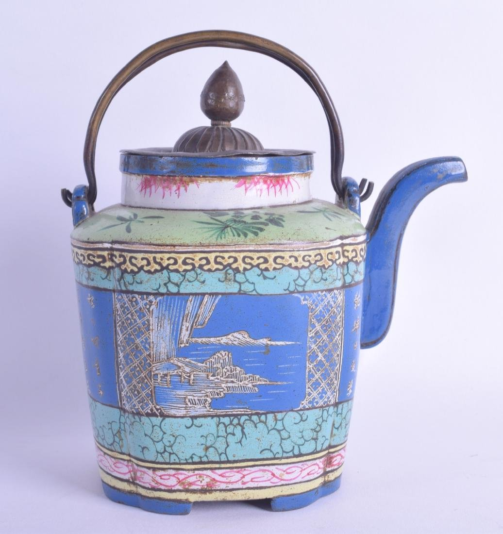 A RARE 19TH CENTURY CHINESE YIXING POTTERY ENAMELLED - 2