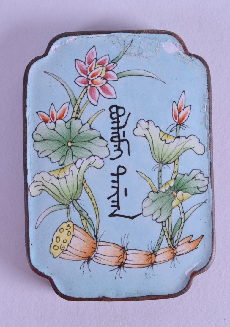 A CHINESE CANTON ENAMEL ABSTINENCE PLAQUE painted with