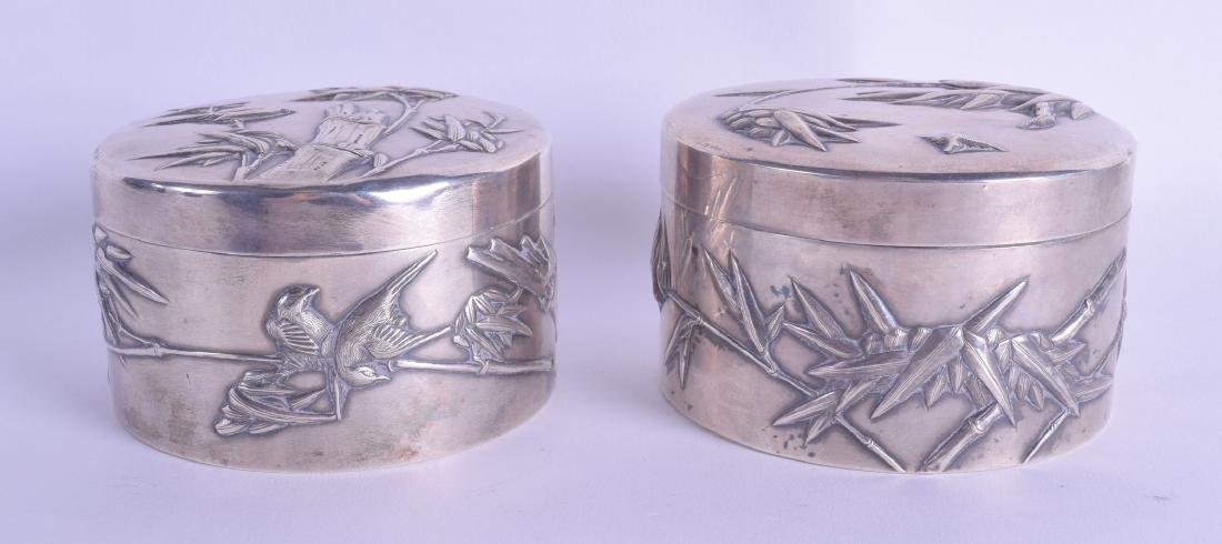 A PAIR OF LATE 19TH CENTURY CHINESE EXPORT SILVER BOXES