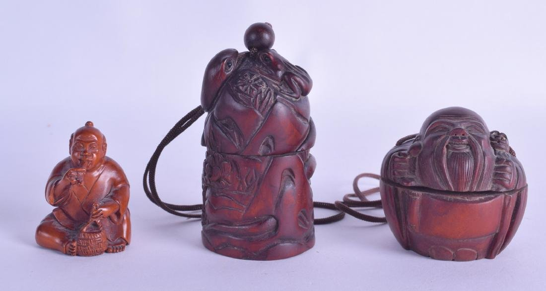 A JAPANESE CARVED BOXWOOD NETSUKE in the form of a
