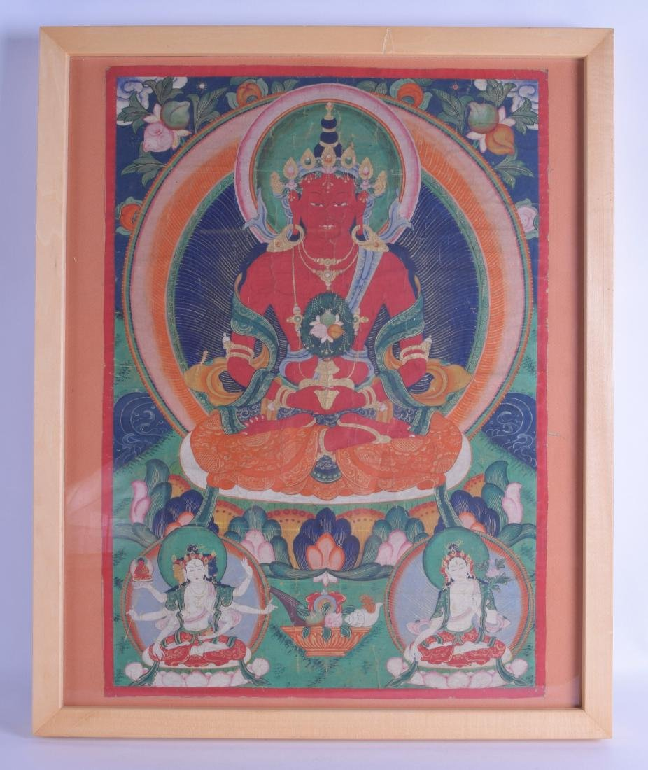 A 19TH CENTURY SINO TIBETAN FRAMED THANGKA depicting a