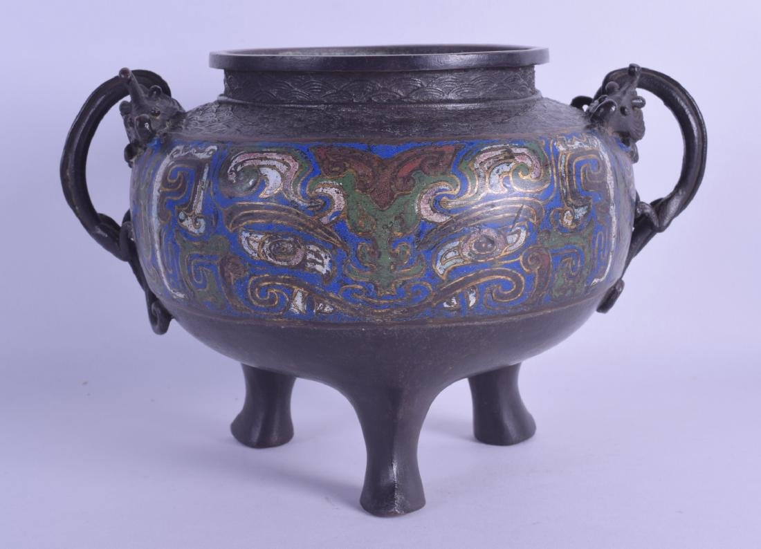 A 19TH CENTURY JAPANESE MEIJI PERIOD CHAMPLEVE ENAMEL