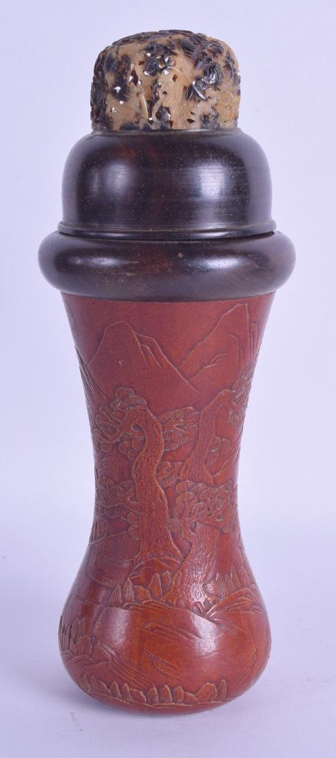 A LARGE CHINESE CARVED GOURD AND HARDWOOD BOX AND COVER