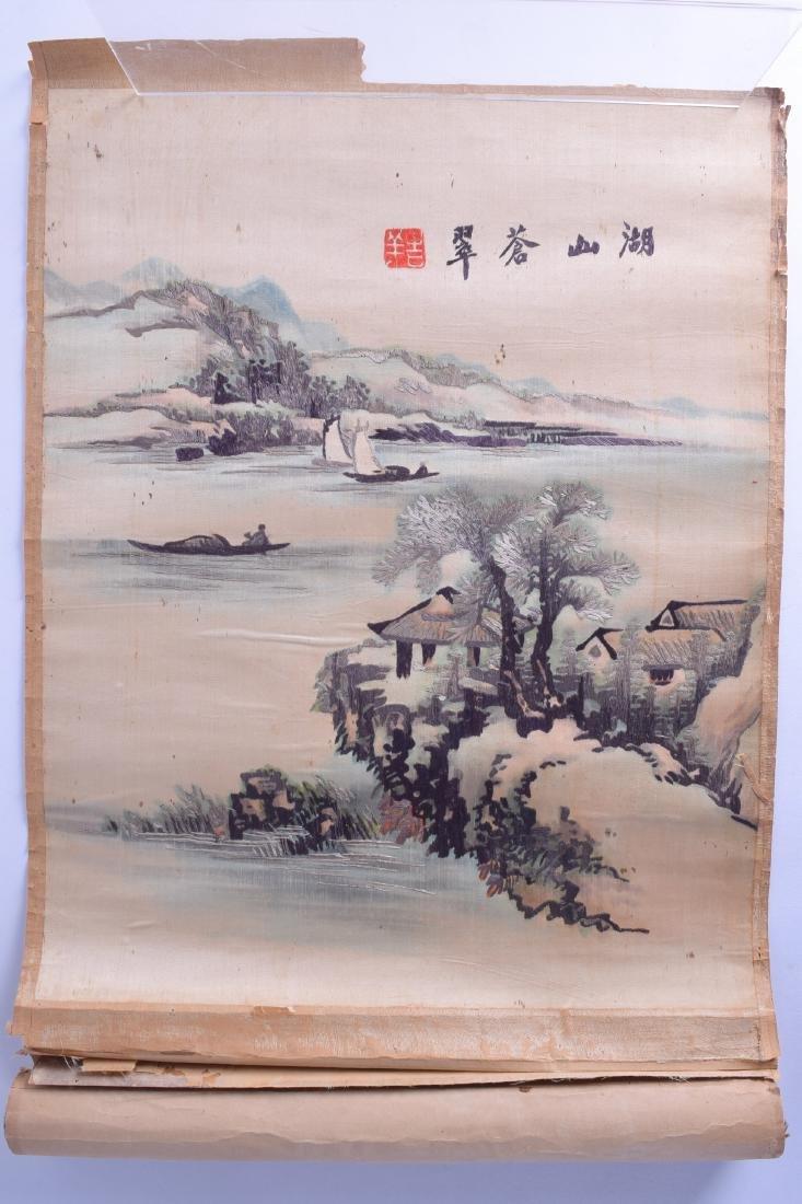 AN UNUSUAL LATE 19TH CENTURY CHINESE SILK WORK SCROLL