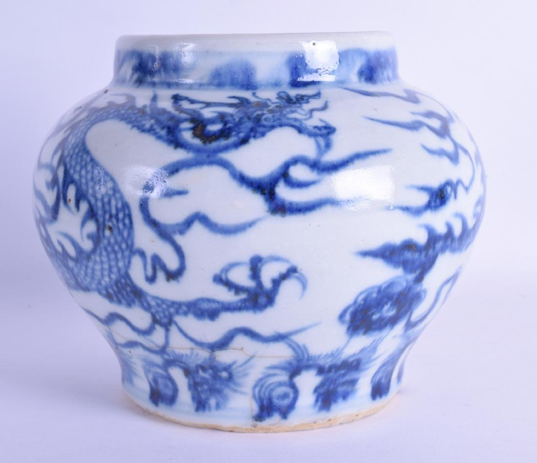 A CHINESE QING DYNASTY BLUE AND WHITE POTTERY JARLET