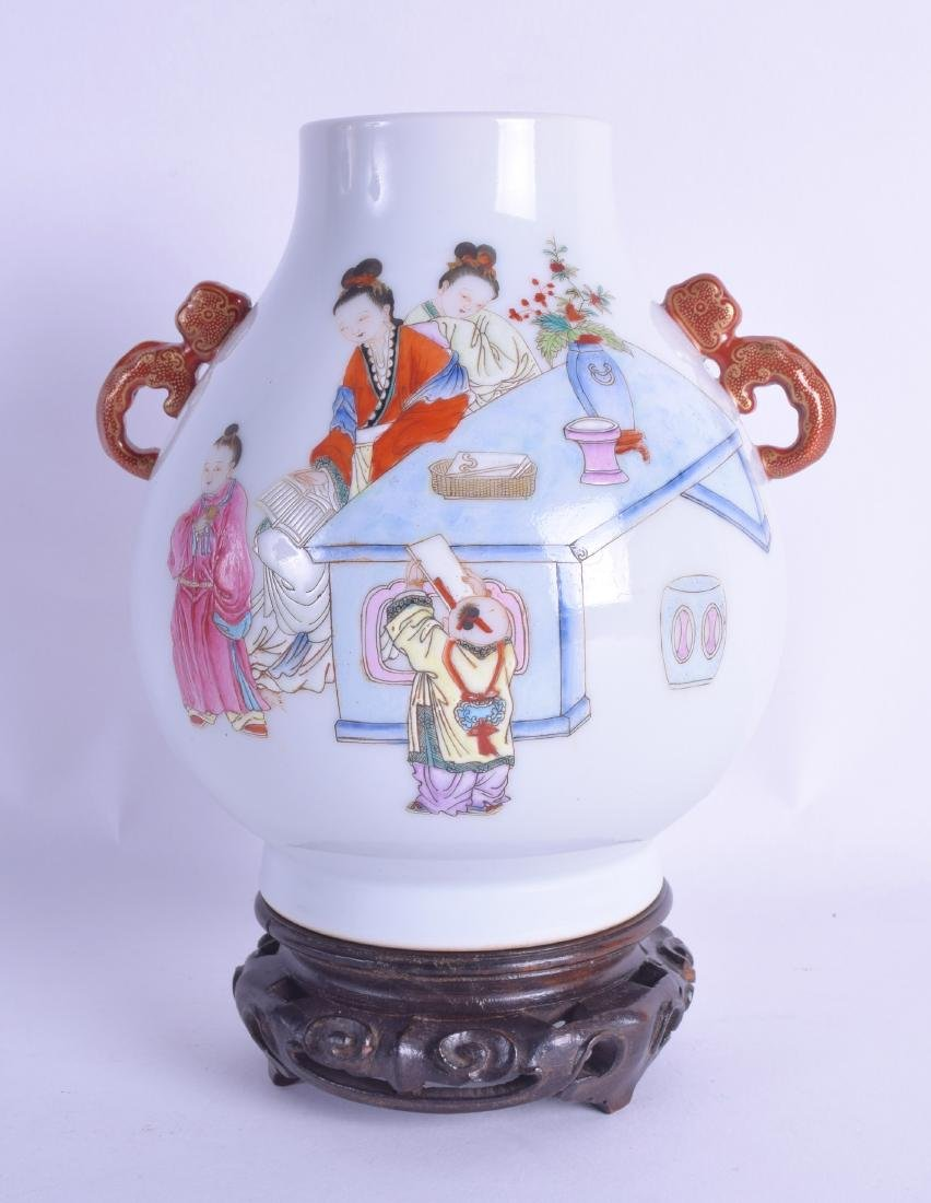 A GOOD CHINESE TWIN HANDLED FAMILLE ROSE HU VASE