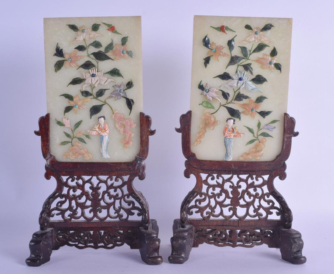 A PAIR OF EARLY 20TH CENTURY CHINESE HARD STONE