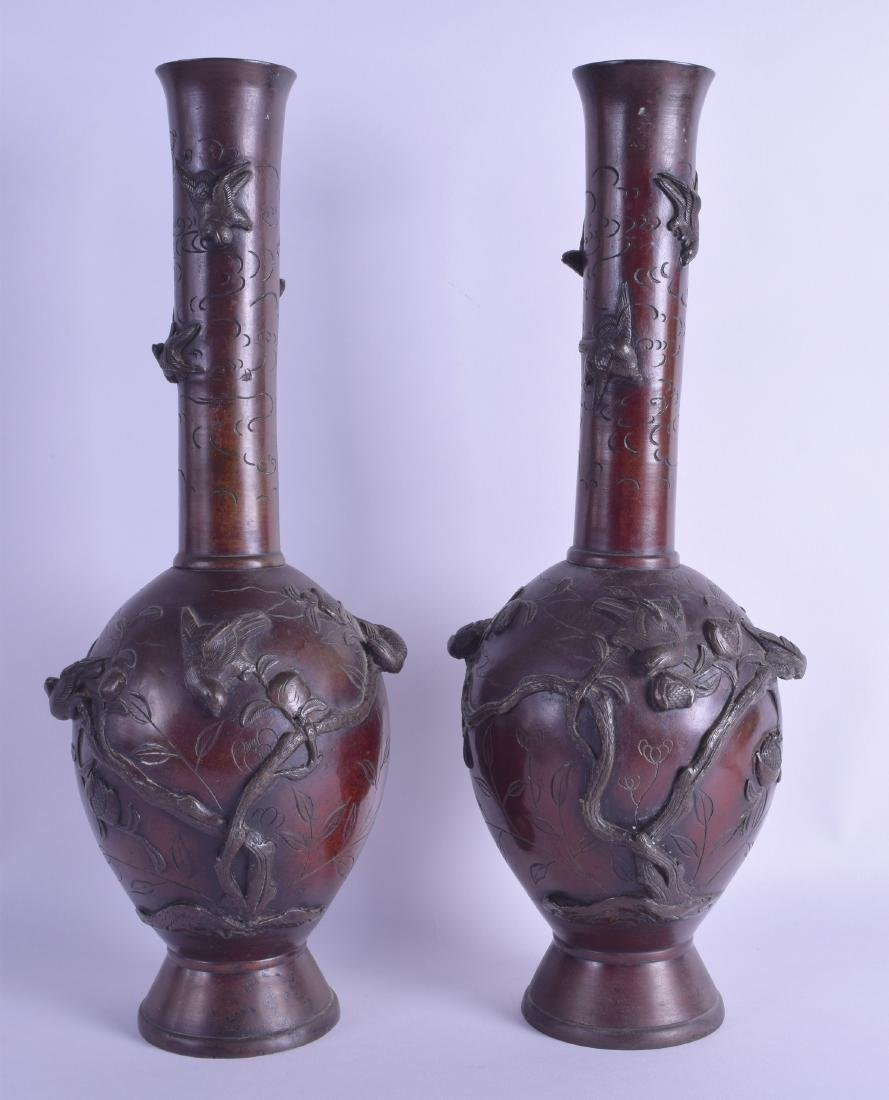 A PAIR OF 19TH CENTURY JAPANESE MEIJI PERIOD BRONZE