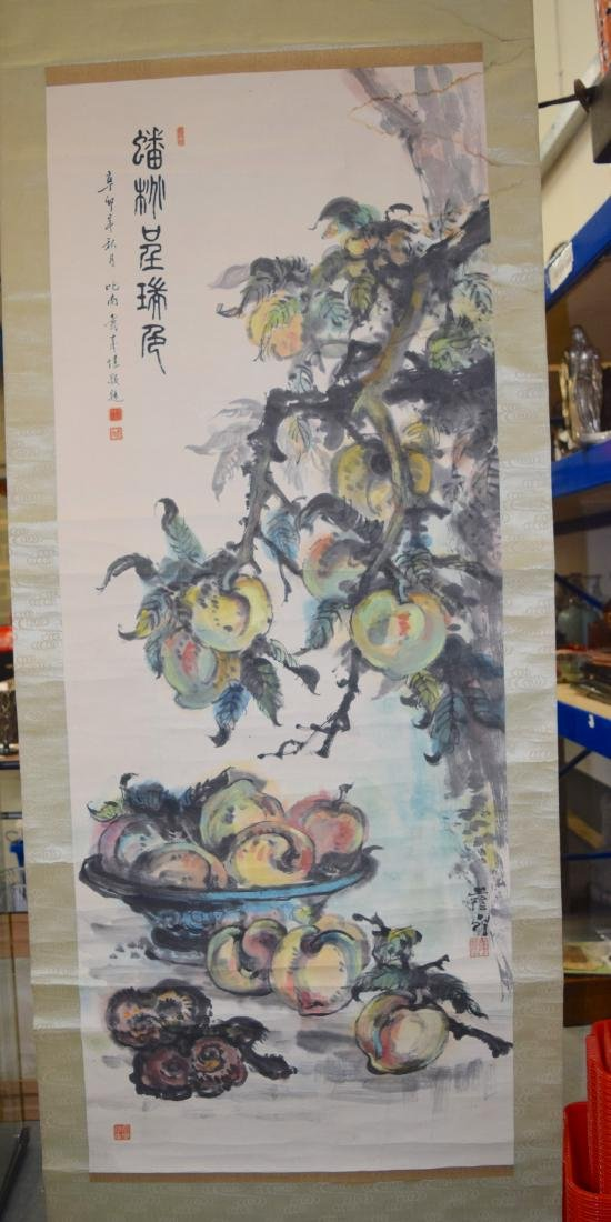 A GOOD CHINESE INKWORK WATERCOLOUR SCROLL painted with