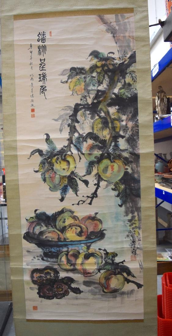 A GOOD CHINESE INKWORK WATERCOLOUR SCROLL painted with - 2