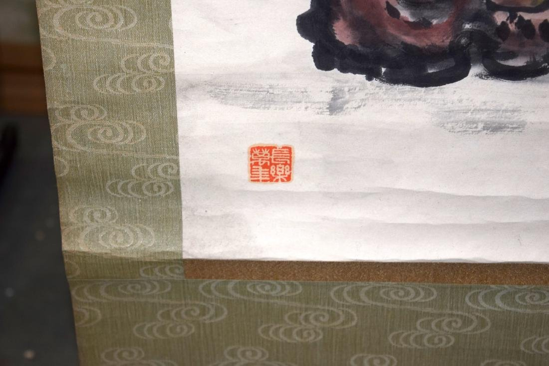 A GOOD CHINESE INKWORK WATERCOLOUR SCROLL painted with - 5