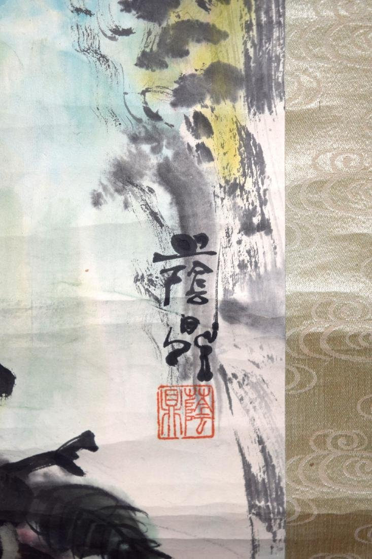 A GOOD CHINESE INKWORK WATERCOLOUR SCROLL painted with - 7