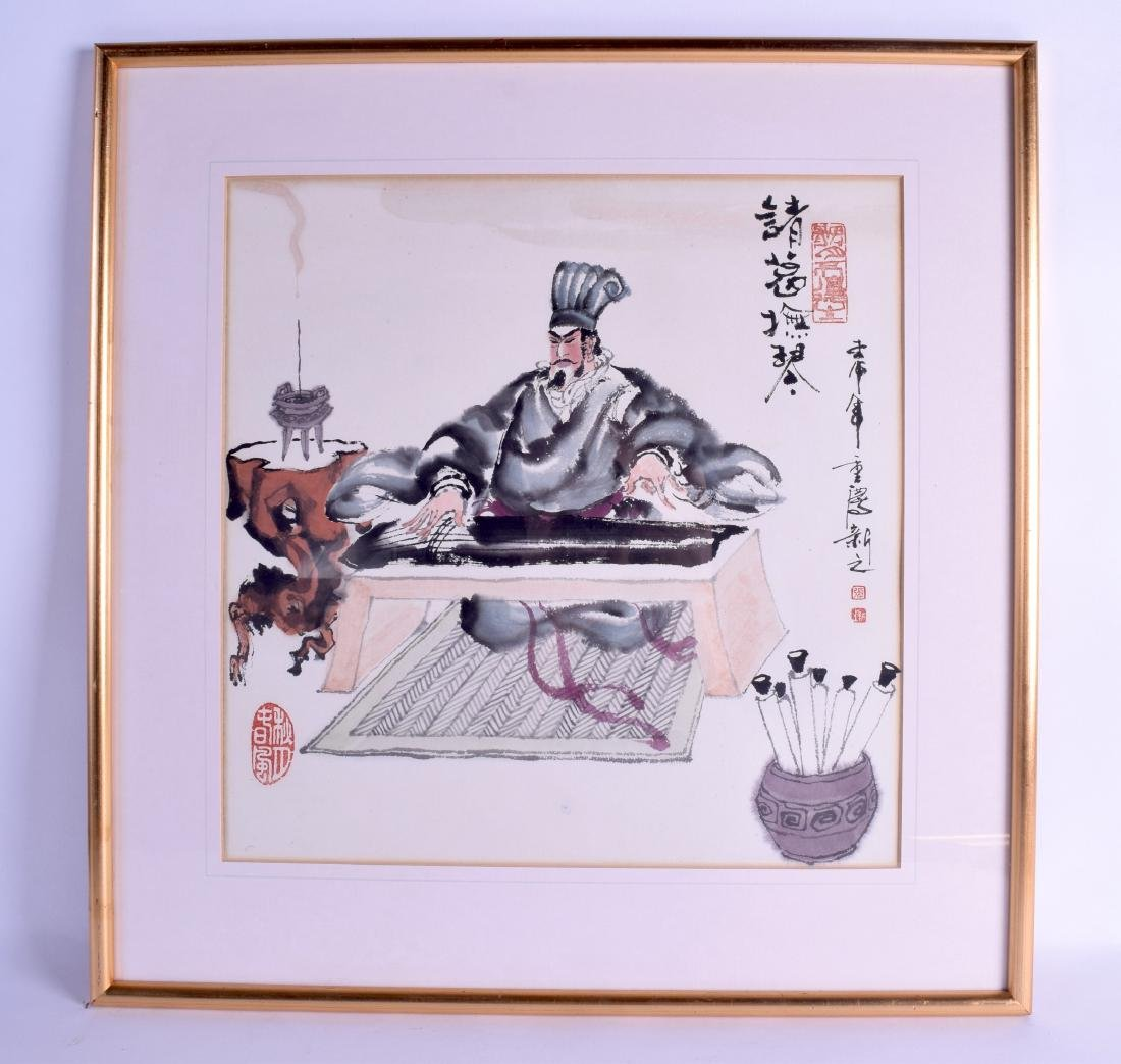 A CHINESE FRAMED INKWORK WATERCOLOUR depicting a male
