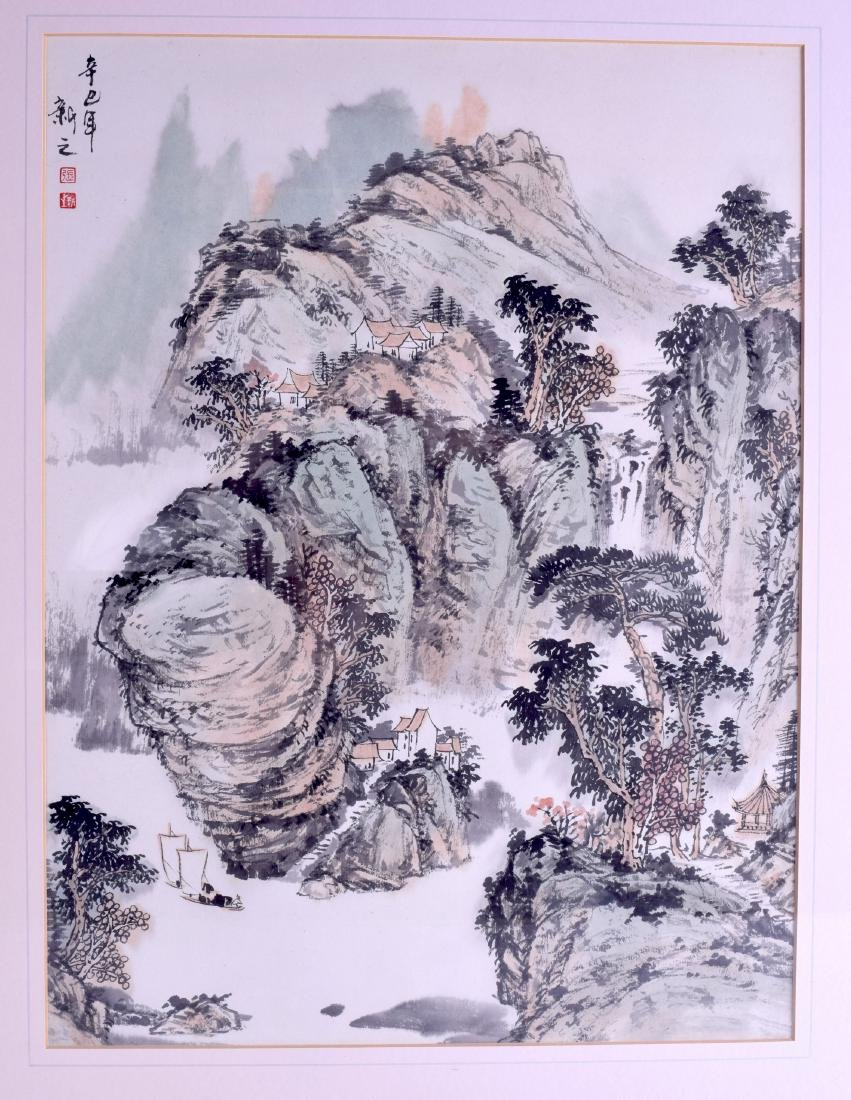 A CHINESE FRAMED INKWORK WATERCOLOUR depicting a