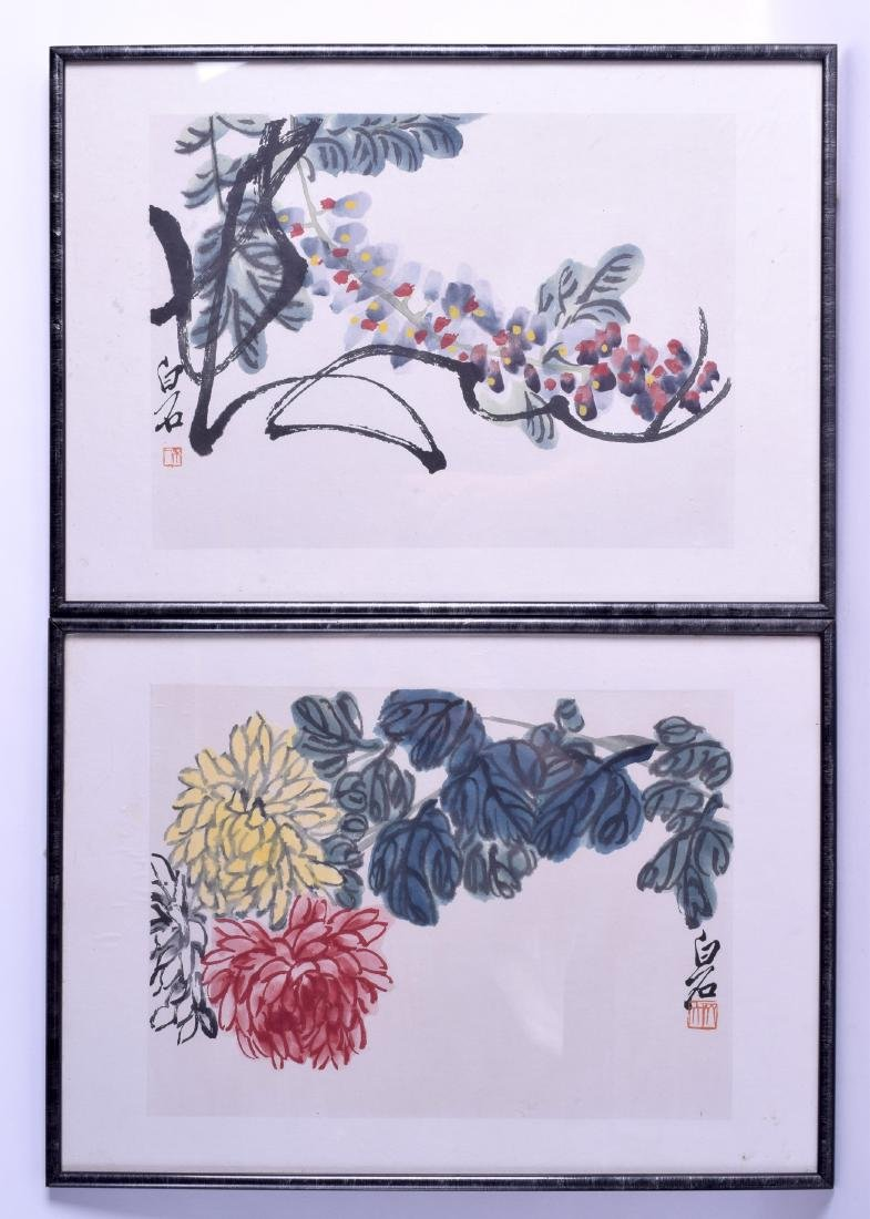 A SET OF FIVE 1950S CHINESE FRAMED WOODBLOCK TYPE