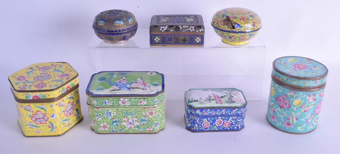 TWO EARLY 20TH CENTURY CHINESE SILVER AND ENAMEL BOXES