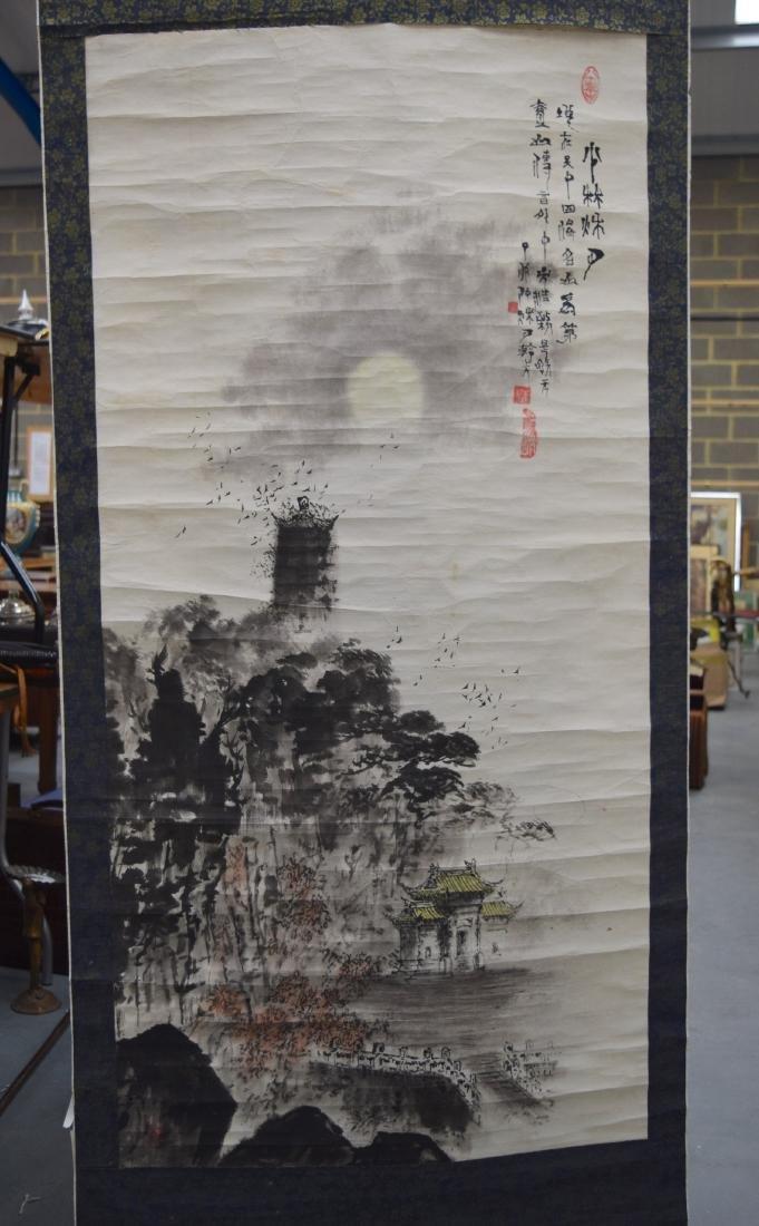 A CHINESE REPUBLICAN PERIOD INKWORK WATERCOLOUR SCROLL
