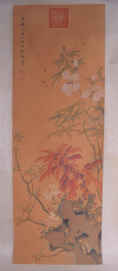 A CHINESE PAINTED INK WATERCOLOUR SCROLL depicting