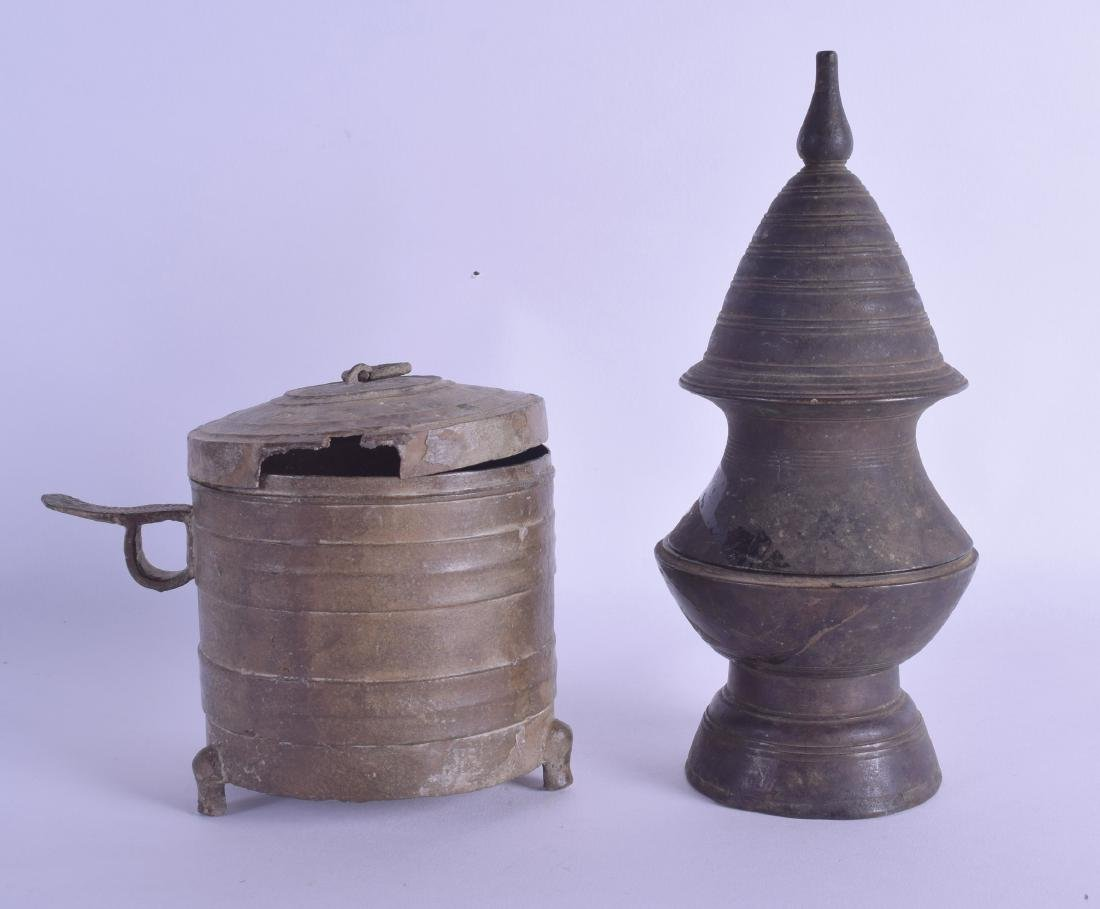 AN EARLY CHINESE BRONZE MUG AND COVER together with an