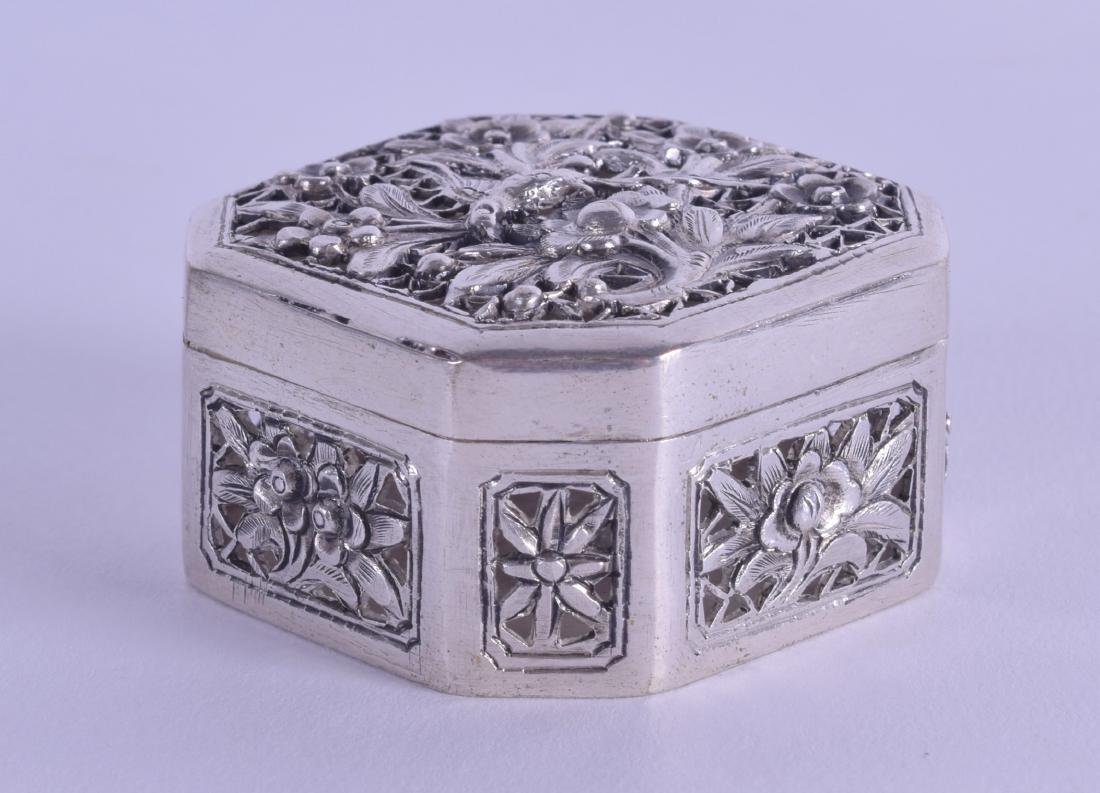 A LATE 19TH CENTURY CHINESE EXPORT SILVER BOX AND COVER