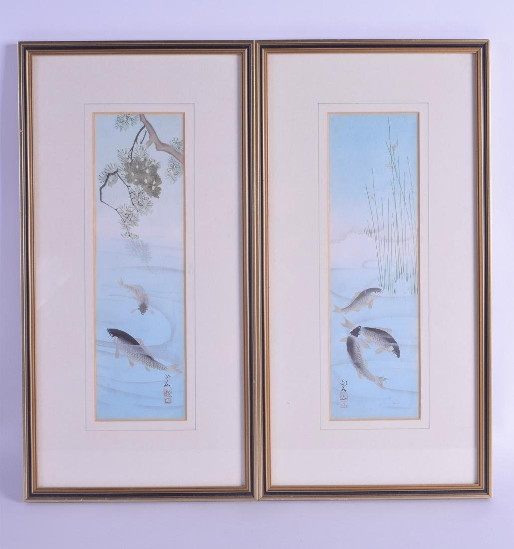 A PAIR OF JAPANESE TAISHO PERIOD WATERCOLOURS depicting