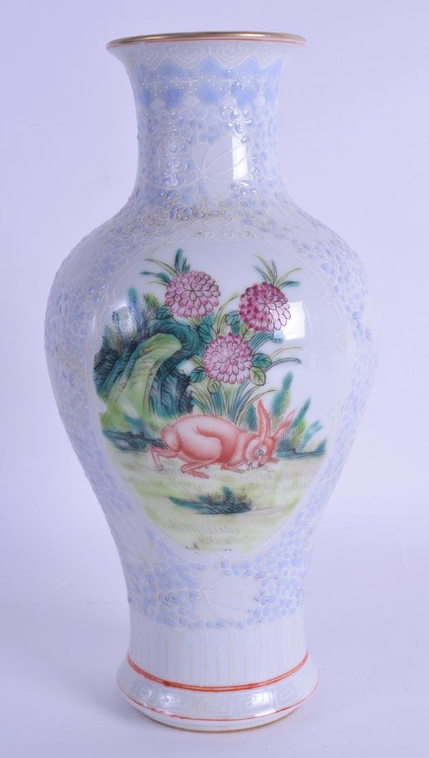 A CHINESE FAMILLE ROSE VASE 20th Century, painted with