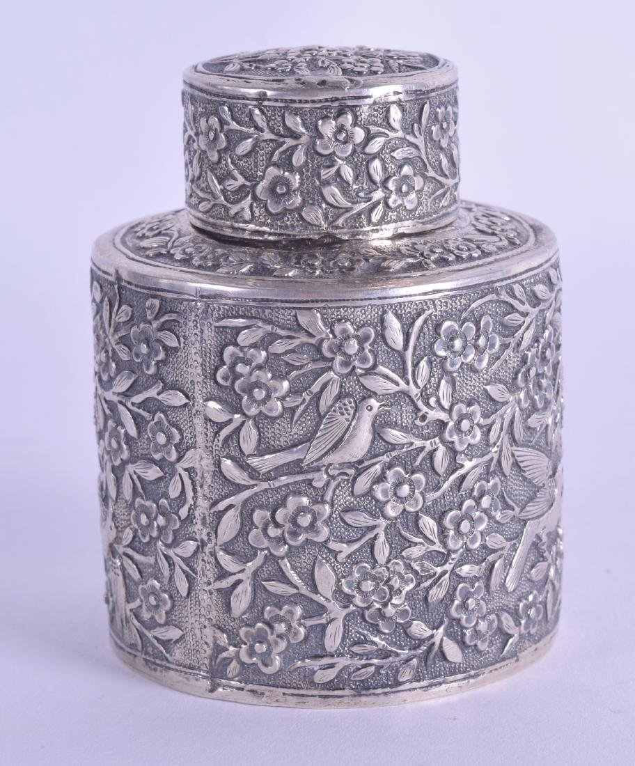 A SMALL LATE 19TH CENTURY CHINESE EXPORT SILVER TEA