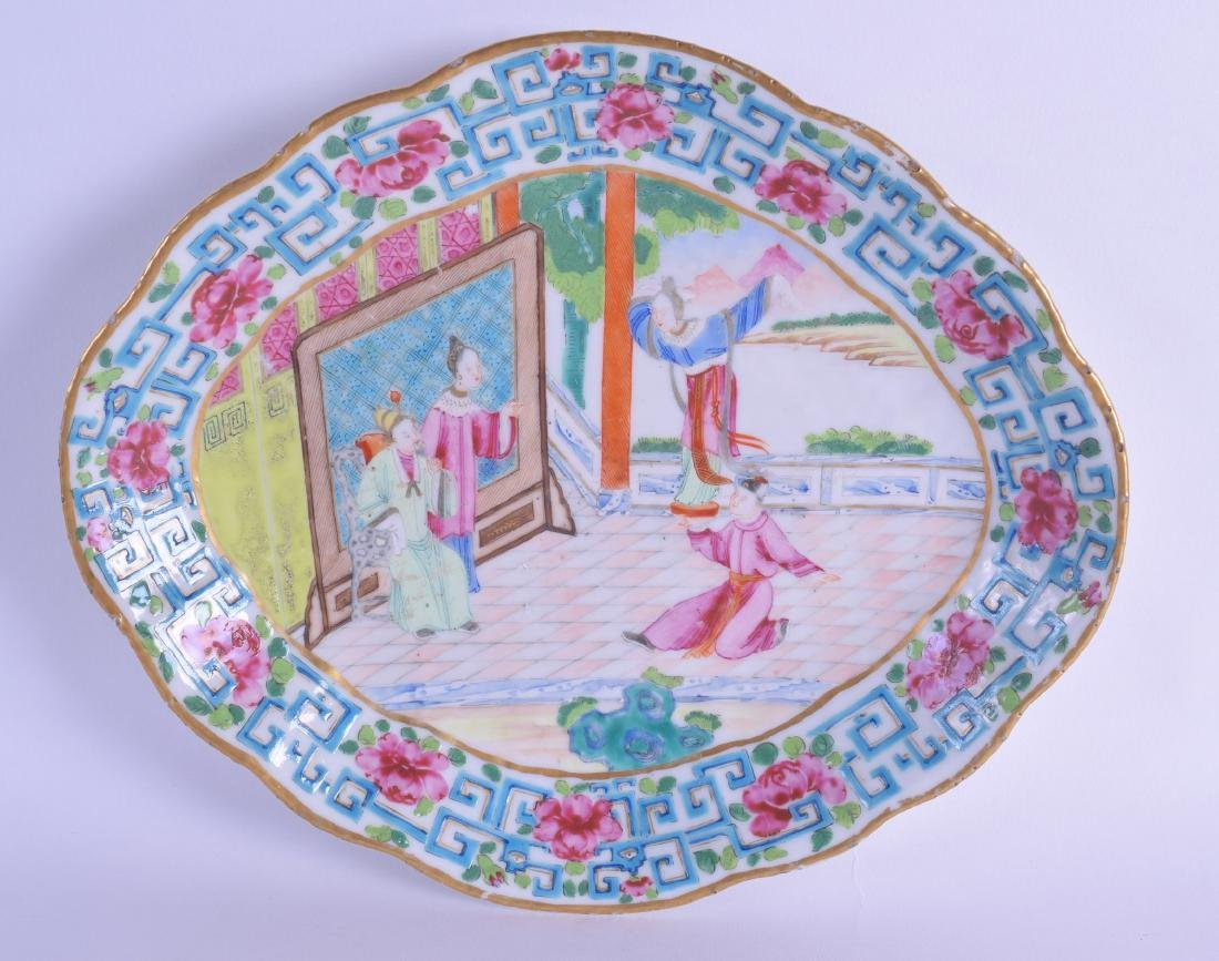 A MID 19TH CENTURY CHINESE CANTON FAMILLE ROSE OVAL