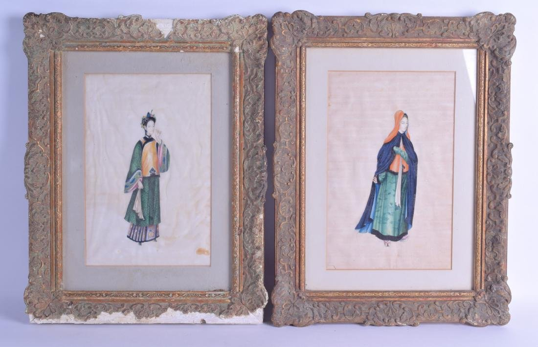 A LARGE FRAMED PAIR OF 19TH CENTURY PITH PAPER WORKS