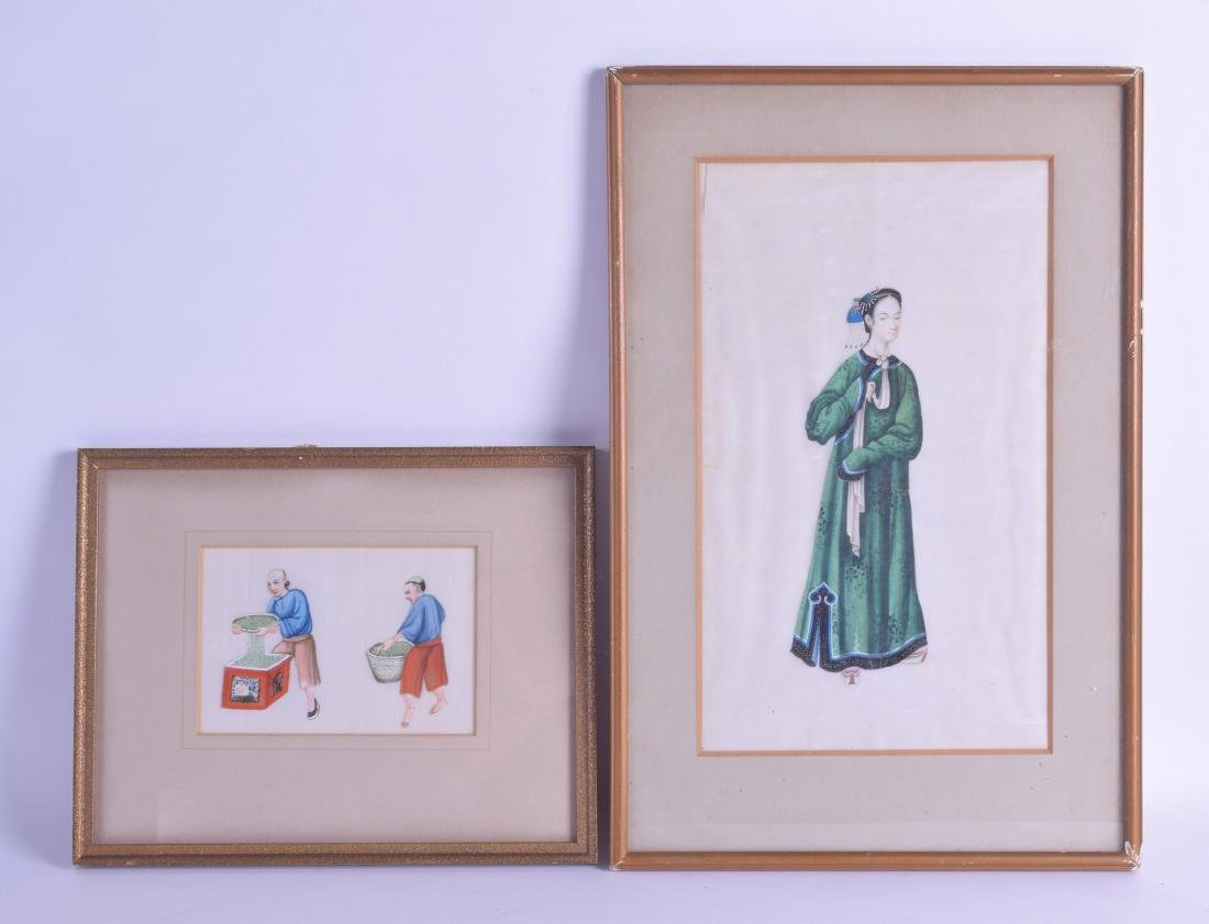 A LARGE FRAMED PAIR OF 19TH CENTURY PITH PAPER WORKS - 4
