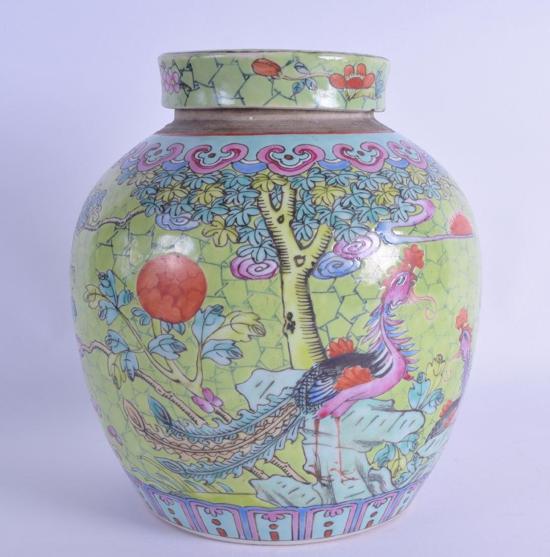 A MID 19TH CENTURY CHINESE FAMILLE ROSE LIME GREEN