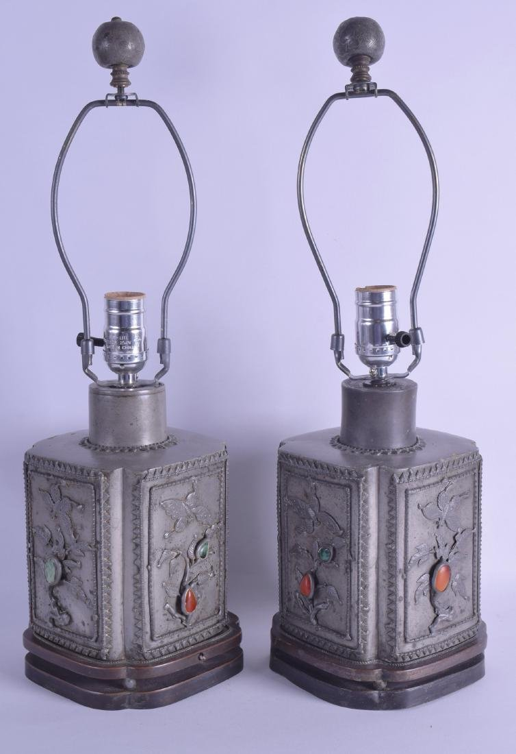 A PAIR OF EARLY 20TH CENTURY CHINESE PEWTER TEA