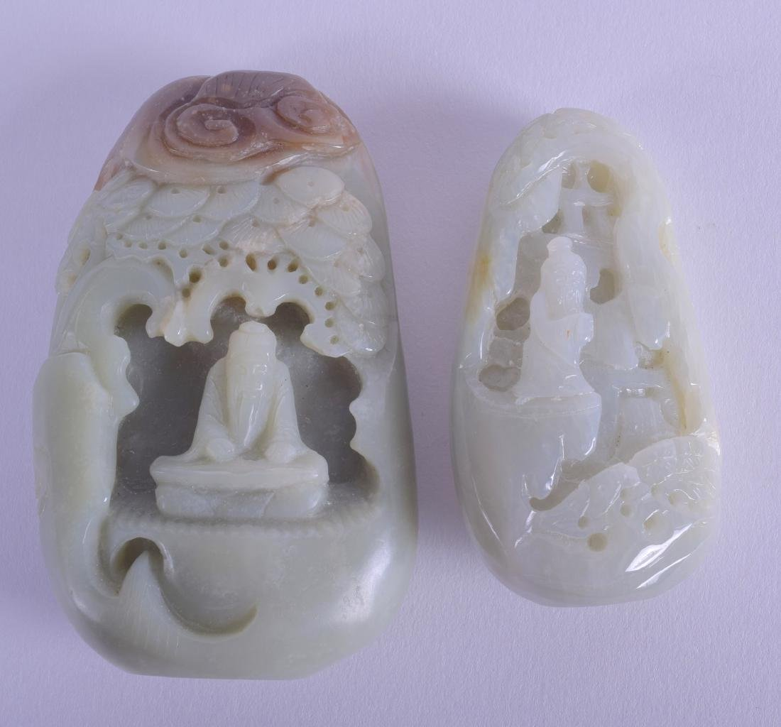 TWO CHINESE JADE BOULDERS each with internal carving. 9