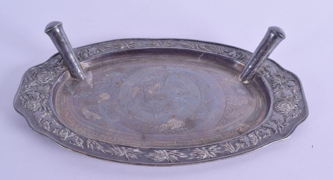 A LATE 19TH CENTURY CHINESE EXPORT SILVER DESK STAND