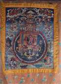 A 19TH CENTURY CHINESE SINO TIBETAN THANGKA painted