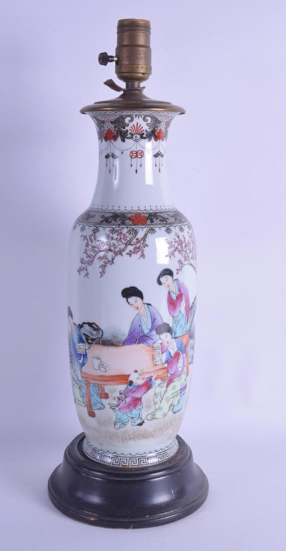 A CHINESE REPUBLICAN PERIOD PORCELAIN VASE converted to