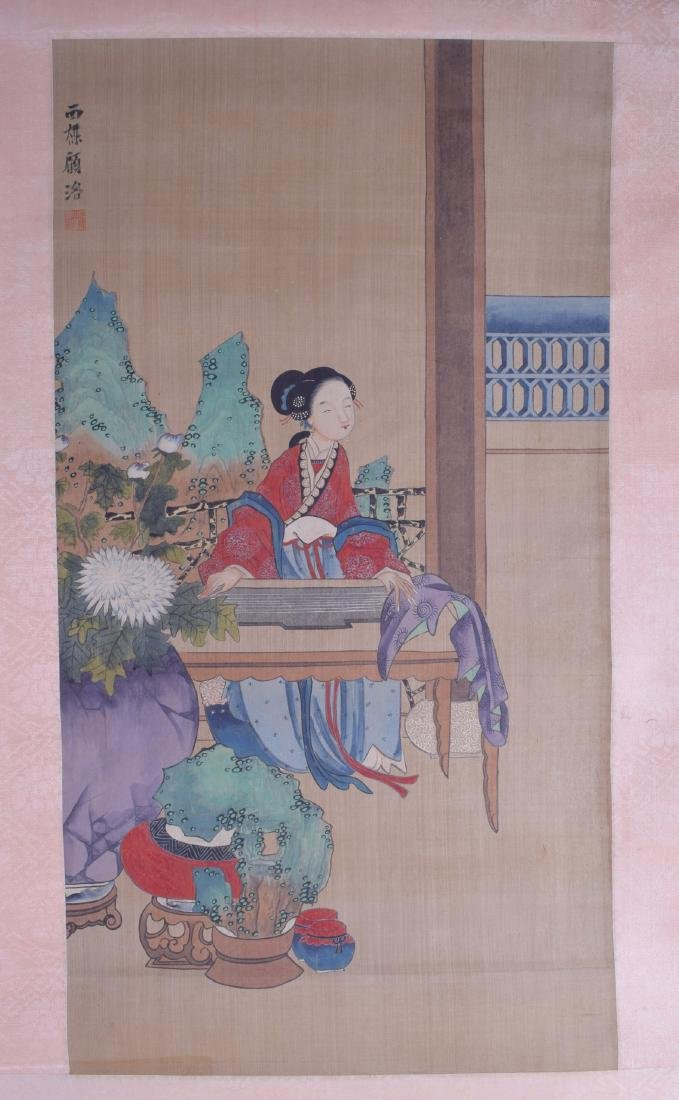 AN EARLY 20TH CENTURY CHINESE INKWORK WATERCOLOUR