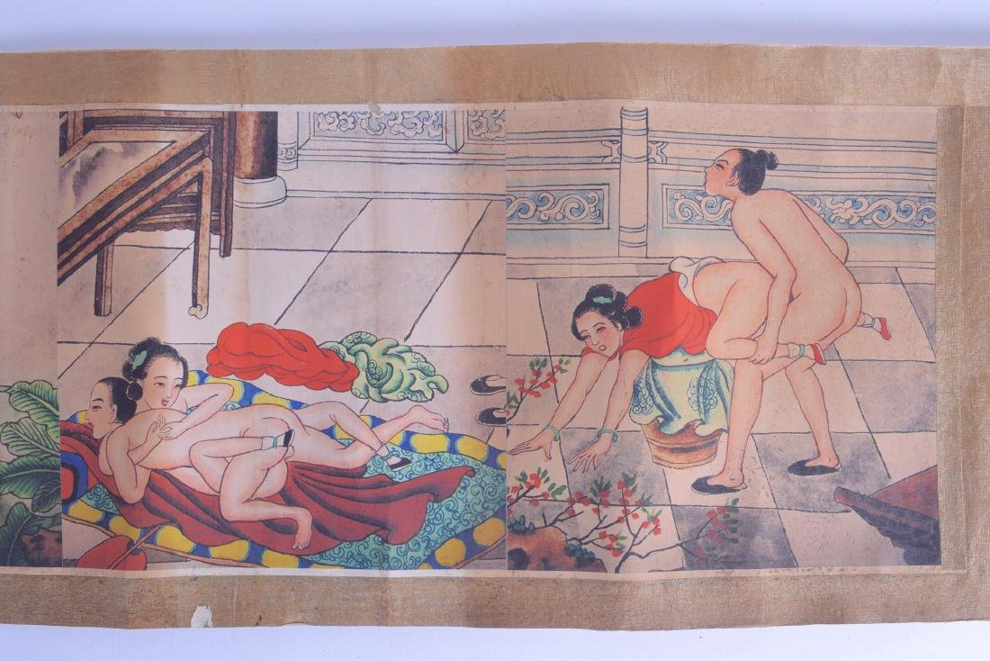 A CHINESE EROTIC SCROLL decorated with figures