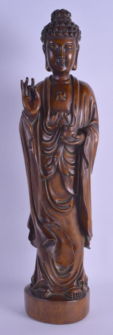 A LARGE CHINESE CARVED HARDWOOD FIGURE OF A BUDDHA