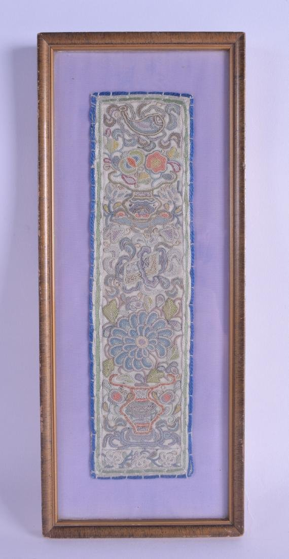 A 19TH CENTURY CHINESE FRAMED SILK WORK PANEL decorated
