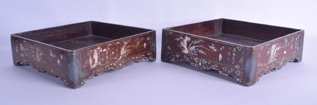 A LOVELY PAIR OF 19TH CENTURY CHINESE HONGMU MOTHER OF