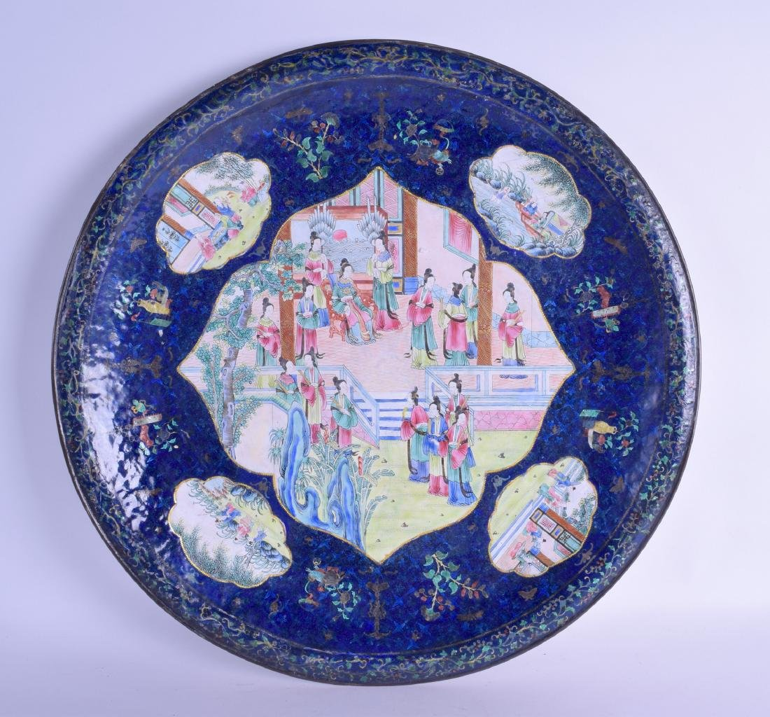 A VERY LARGE 19TH CENTURY CHINESE CANTON ENAMEL