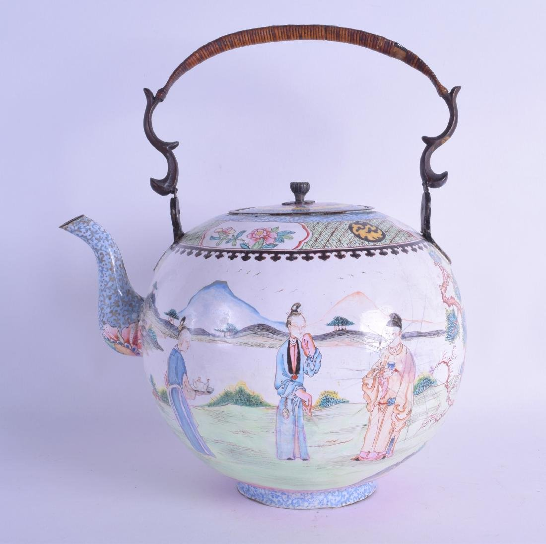 A RARE LARGE 18TH CENTURY CHINESE CANTON ENAMEL TEAPOT